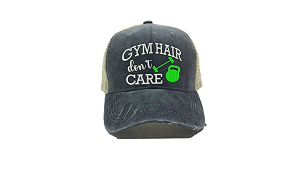 0445cda02c2 Adult Custom Distressed Trucker Hat Gym Hair Don t Care Fitness Workout  Ball Cap (Lime Green) at Amazon Women s Clothing store