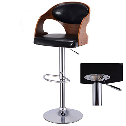 Contemporary Bentwood Bar stool Adjustable Height 360 Degree Swivel Durable Curved Design Leather Upholstery Seat Stable Footrest Chrome Steel Frame Office Pub Chair New #1099 by Koonlert@shop