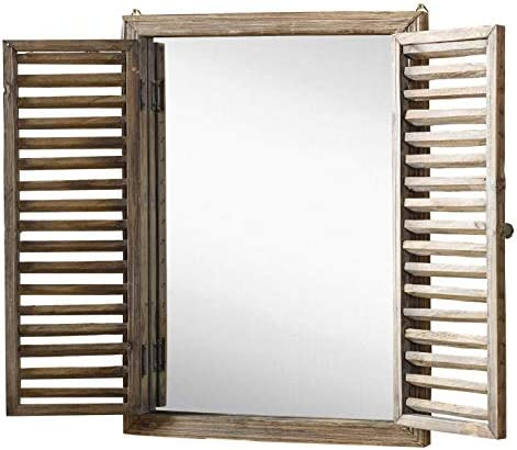 Farmhouse Decor Mirror with Frame – Rustic Mirror with Wooden Frame and Shutter Design Product SKU SZ-7888