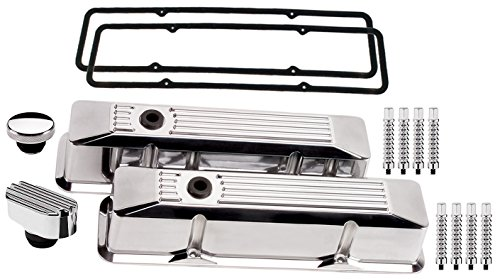 NEW BILLET SPECIALTIES SMALL BLOCK CHEVY TALL POLISHED ALUMINUM VALVE COVER SET WITH RIBBED COVERS, RIBBED BREATHER, OIL FILL CAP, RIBBED HOLD DOWNS, & PERMALIGN GASKETS