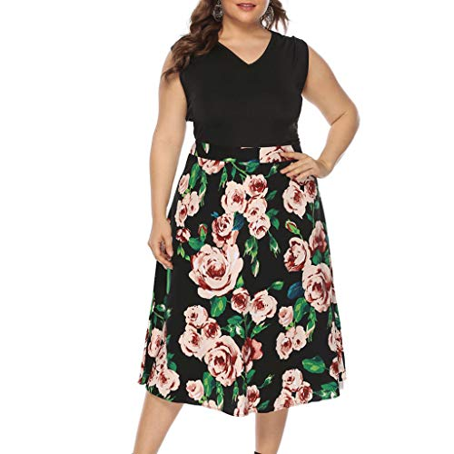 Maxi Dresses for Women V-Neck Sleeveless Floral Printed Patchwork Long Dress Plus Size Black