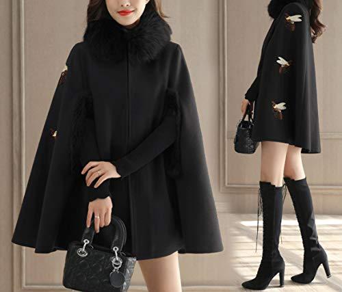 Coupe Abeille Et Automne Hiver De vent Long En Britannique Manteau Noir Féminine L'hiver Laine Femme Veste Dames Chaude Broderie Coréenne Coton D'hiver HwqPpwx
