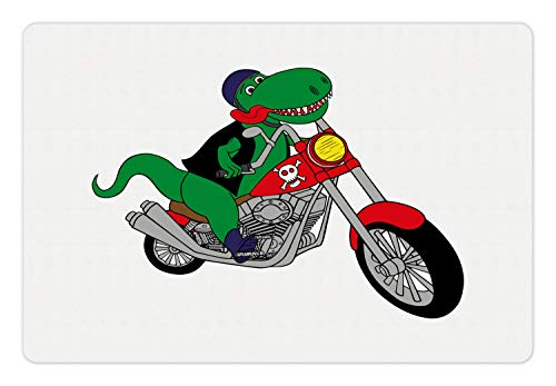 (Ambesonne Dinosaur Bicycle Pet Mat for Food and Water, Funny Cartoonish Illustration of a T-rex Riding a Motorcycle Print, Rectangle Non-Slip Rubber Mat for Dogs and Cats, Green Multicolor)