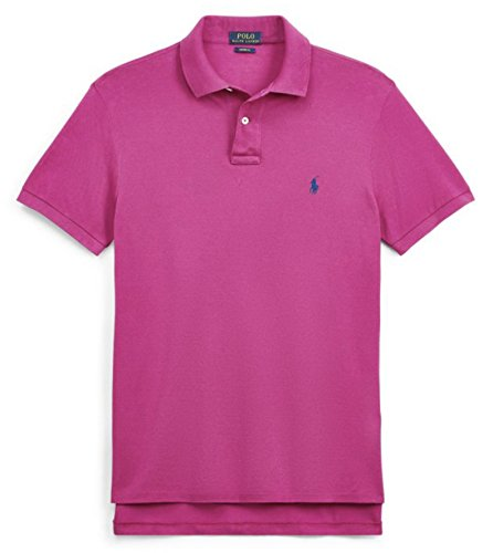 Polo Ralph Lauren Men Custom Fit Mesh Pony Logo Shirt (XL, - Magenta Shirt