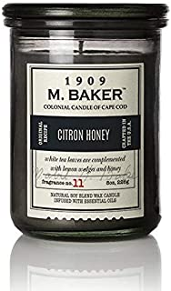 product image for M. Baker by Colonial Candle Scented Apothecary Glass Jar Candle, Citron Honey, Natural Soy Wax Blend, 8 Oz, Premium Cotton Wick, Single (Coriander Seed, Sage Leaf, Lemon Wedge )