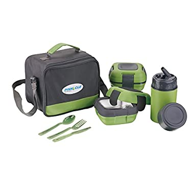 Lunch Box Bag Set for Adults and Kids ~ Pinnacle Insulated Leakproof Lunch Box Kit 2 Lunch Containers-stainless steel interior & plastic THERMO LUNCH KIT ~ Green ~ Fresh 'N' Go