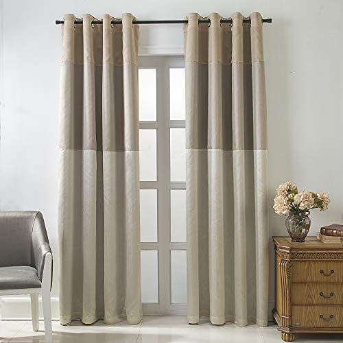 Jarl home Three-Color Stitching Blackout Curtains - Artificial Silk Blackout Window Drape Lined Double Curtains Grommet Top Curtain Panels for Living Room - 2 Panels (Beige, 52 x 84 inch)