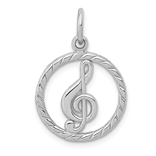 (14k White Gold Polished Treble Clef in Circle Charm, 14 kt White Gold)