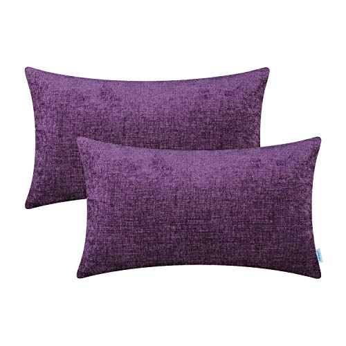 CaliTime Pack of 2 Cozy Bolster Pillow Covers Cases for Couch Sofa Home Decoration Solid Dyed Soft Chenille 12 X 20 Inches Plum Purple (Plum Pillow Shams)