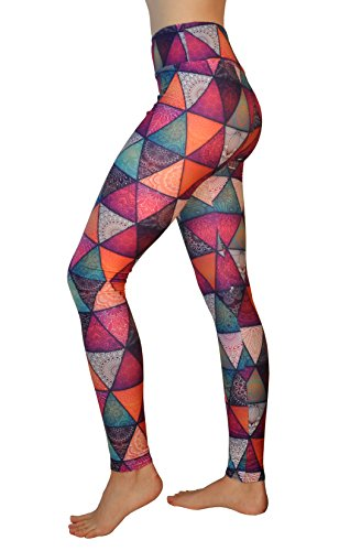 Comfy Yoga Pants - High Waisted Yoga Leggings with Bohemian Print - Extra Soft - Dry Fit (Mandala Pyramids, One Size) (Best Place To Get High Waisted Jean Shorts)