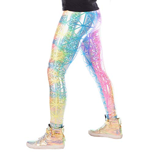 Revolver Fashion Holographic Meggings: USA Made Men's Disco Leggings. Fun Music Festival Clothing (Rainbow Holo, Medium) ()