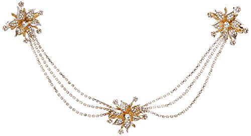 Twigs & Honey Women's Triple Flower and Swag Bridal Hairpiece, Gold, One Size by Twigs & Honey