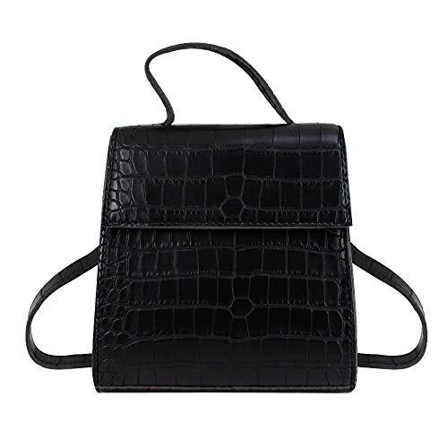 Handbag Crocodile Pattern Tote (Goodbag Women Crocodile Pattern Leather Clutch Purse Detachable Shoulder Strap Tote Handbag, Black)