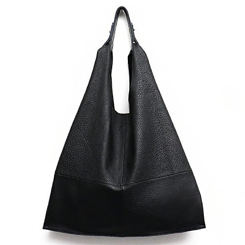 Women's Handbag STEPHIECATHY Genuine Leather Slouchy Hobo Shoulder Bag Large Casual Soft Handmade Tote Bags Ladies Vintage Bucket Snap Shopping Bag with Zipper Cellphone Liner Bag Inside (Black)