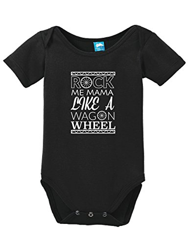 ROCK ME MAMA LIKE A WAGON WHEEL Printed Infant Bodysuit Baby Romper Black 3-6 M... (Shower Baby Wagon)