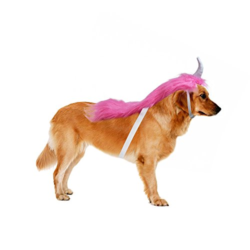 Lifeunion Pink Unicorn Costume For Dogs Pups Mane & Horn Headdress Wig Pet Dress Up Party (Pink Unicorn Costume For Dogs)