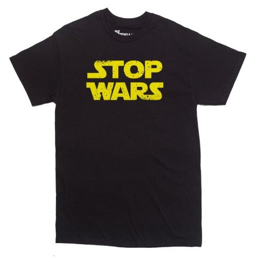 Rocket Factory Stop Wars Logo Men's T-shirt Black Large