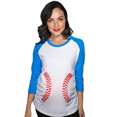 Maternity Raglan Baseball Laces Cute Funny Pregnancy 3/4 Length Sleeve Tee (Blue) - -