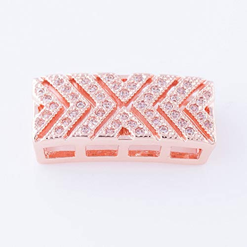 (Calvas Rose Rose Gold/Rhodium/Gold Colour Rectangular Micro Insert Cubic Zirconia Geometry Jewelry Beads Charms Fit Bracelets Making - (Color: Rose Gold))