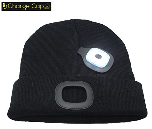 CHARGE CAP USB LED headlamp BEANIE - Activewear LED headlamp. Remove + Recharge bright LED lights, NO BATTERIES TO REPLACE, LED Beanie hat, Perfect holiday gift