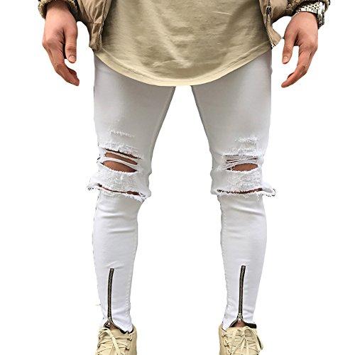 Juleya Jeans hombre pantalones de mezclilla Slim Fit Stretch Skinny Denim Jeans agujeros Jeans destruidos elásticos cómodos 5 colores 28-38 Agujero Blanco