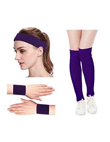 Kimberly's Knit Women 80s Neon Pink Running Headband Wristbands Leg Warmers Set (Free, Purple)