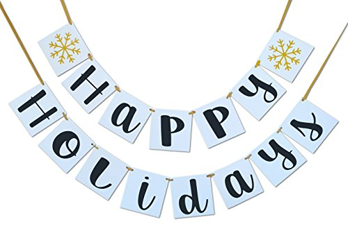 Happy Holidays Banner - Great Holiday Season Decoration - Party Banner Bunting (Happy Holidays Sign)