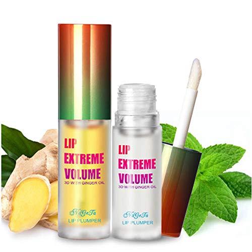 2Pcs Lip Plumper Gloss Kit, Ginger Mint Lip Serum Plumping Lip Balm Makeup Moisturizes Plump Volume Eliminate Dryness Wrinkles Lipstick Treatment, Day & Night Lip Plumper Kit
