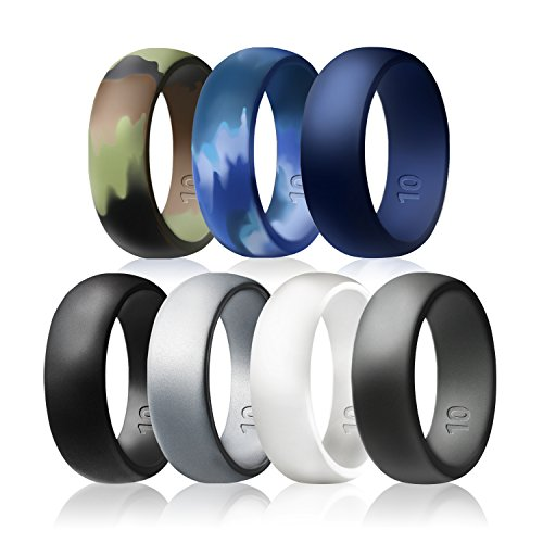 Egnaro Silicone Wedding Rings - 7 Rings Pack - Design For Men Size 8 - 12 ,Black , Silver , Deep Grey , Blue , White , Amy Camouflage , Navy Camouflage (9.5-10 (19.8mm))