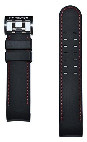 Authentic Hamilton Khaki X-Wind 22mm Black Rubber Band Strap for Watch Model H77646833