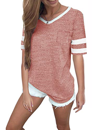 Tip Top T-shirt - Twotwowin Women's Summer Tops Casual Cotton V Neck Sport T Shirt Short Sleeve Blouse(pk-l) Pink