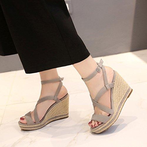 Delicado SANDALIAS cuña gris para mujer - zapatos de fiesta sexy con tacones  altos de la 7206941e51d1