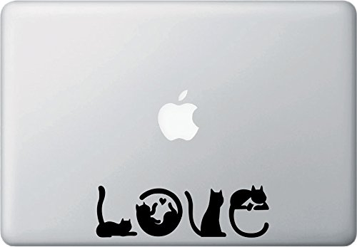 Amazon com cats spell love macbook or laptop vinyl decal sticker copyright yadda yadda design co 6 25w x 2h black computers accessories