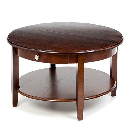 Charlton Home Round Contemporary Modern Wooden Braeswood Drawer Storage Coffee Table Furniture ()