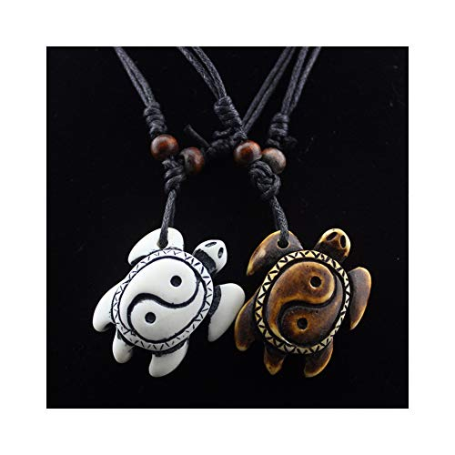 2 Pcs Yin Yang Turtle Necklace Pendant Adjustable Retro Resin Acrylic Lucky Sea Tortoise Necklace with Wax Rope for Women Girls 2Pcs/Set(05)