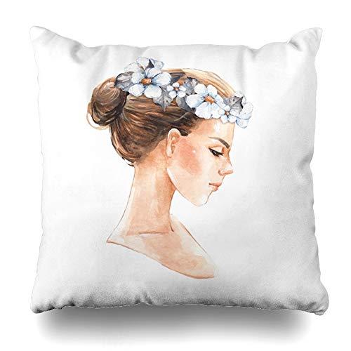 Ahawoso Decorative Throw Pillow Cover Delicate Bride Girl Watercolor Wreath Wedding Hair Adult Creativity Design Home Decor Pillowcase Square Size 20