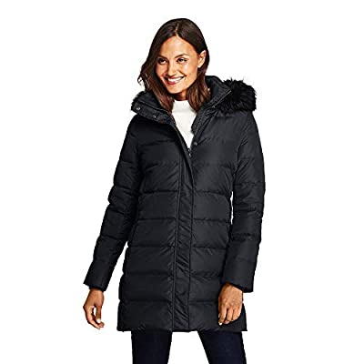 Lands' End Women's Winter Long Down Coat with Faux Fur Hood Faux Fur