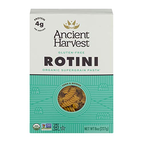 Eden Organic Flour - Ancient Harvest Organic Gluten-Free Corn and Quinoa Supergrain Pasta Rotini, 8 oz. Box, Plant-Based Pasta with the Same Great Taste and Texture of Traditional Pasta