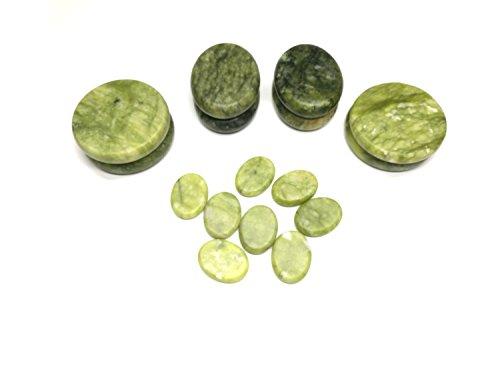 Green Jade Set - Windfulogo 16Pcs Large Hot Massage Stones Set Natural Green Jade Heated Warmer Stone for Spa Massage 886834