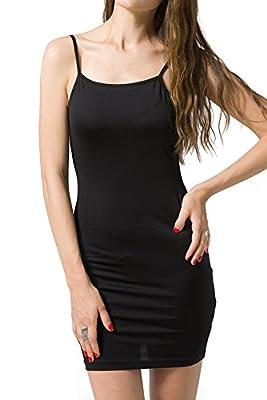 Chifave Women's Sexy Seamless Bodycon Spaghetti Strap Cami Slip Under Mini Dress