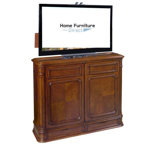 Crystal Pointe Brown End of Bed TV Lift Cabinet with 360 Degree Swivel