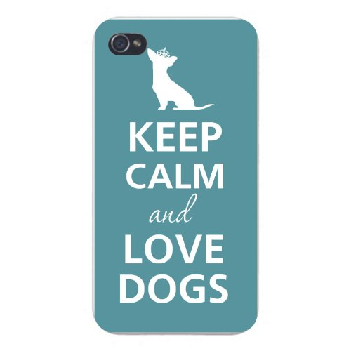 Apple Iphone Custom Case 4 4s White Plastic Snap on - Keep Calm and Love Dogs White Silhouette w/ Crown