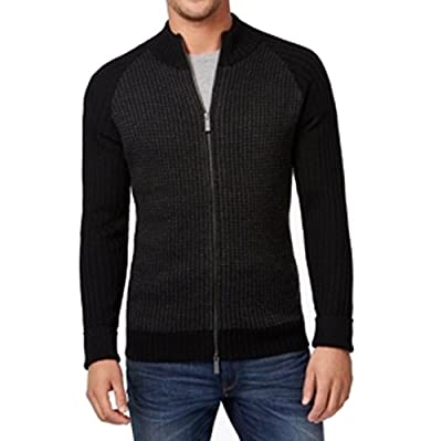 Calvin Klein Mens Wool Blend Houndstooth Full Zip Sweater