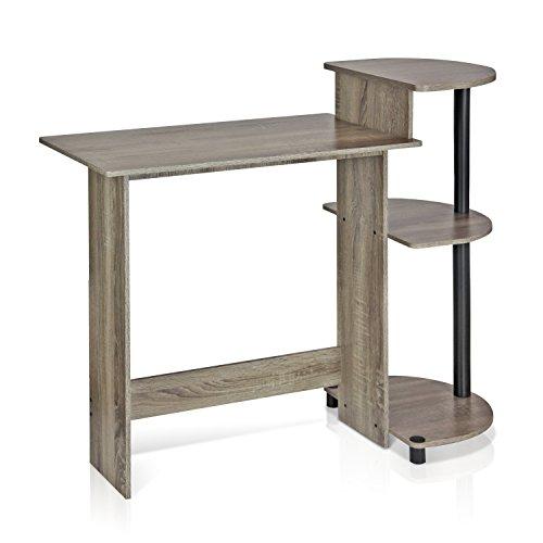 FURINNO 11181GYW/BK Computer Desk, Round Side Shelves, French Oak Grey/Black (Small Bedroom Desk)