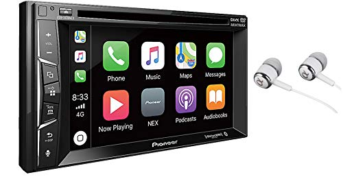 Pioneer Multimedia Double-Din In-Dash 6.2' WVGA Display DVD Receiver Apple CarPlay/Built-in Bluetooth/SiriusXM-Ready/AppRadio Mode/ Spotify & Pandora WITH FREE ALPHASONIK EARBUDS