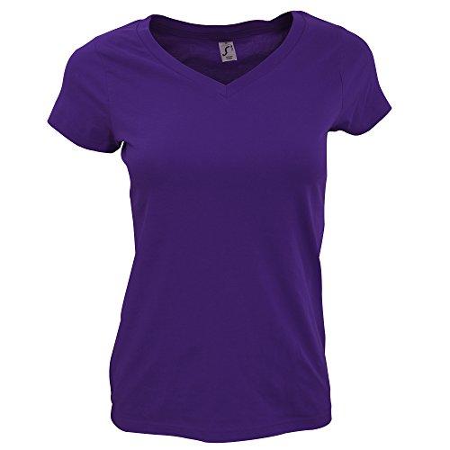 SOLS- Camiseta de manga corta Moon con cuello en forma de V para chica/mujer Lila oscuro
