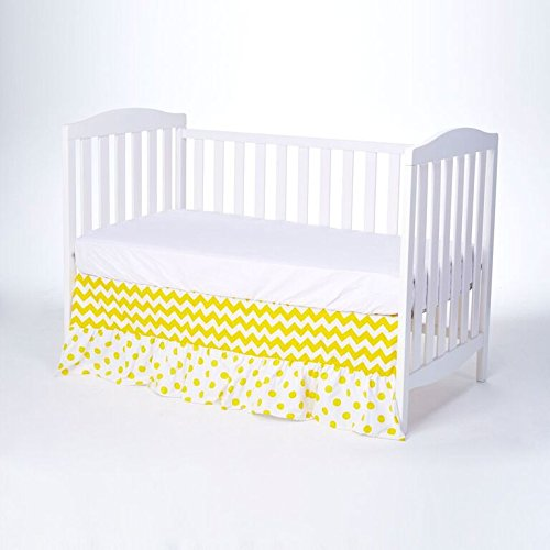 Rockingham Road Crib Bed Skirt Yellow Chevron & Polka Dot...