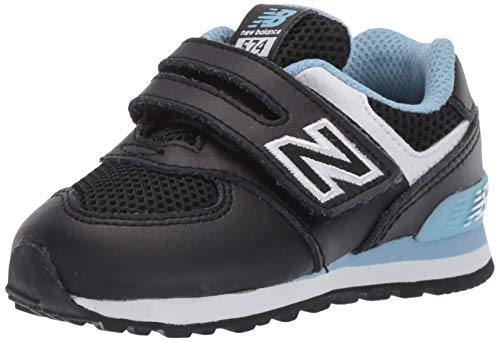 New Balance Boys' Iconic 574 V1 Hook and Loop Running Shoe, Black/Summer Sky, 4 M US Toddler
