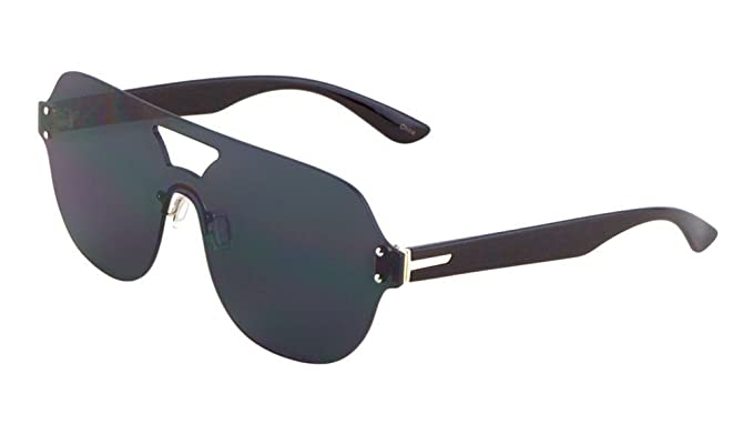 29afee5e0dd Rimless Oversized Flat Top Shield Round Aviator Sunglasses (Black Frame