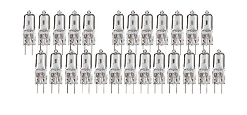 Sterl Lighting Pack of 25 20-Watt 12V JC G4 Base Halogen Lamp 20W Bi-Pin Light Bulbs